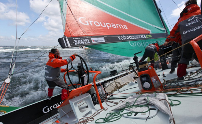 Franck Cammas and his crew on Groupama - 2012 Volvo Ocean Race