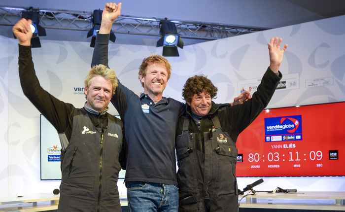 Shared podium 2016 on the Vendée Globe: Eliès, Dick, Le Cam - Guelt Nautic