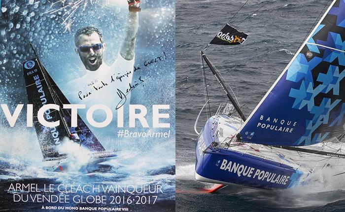 Victory of Armel Le Cléac'h on Banque Pop VIII - 2016 Vendée Globe - Guelt Nautic