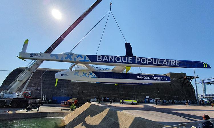 Mise à l'eau du Banque Pop XI à Lorient la Base le 27 avril 2021